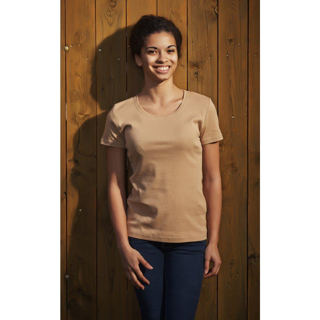 7910e7f067e Dámske tričko krátky rukáv caffé latté - Biošatník - Biomoda