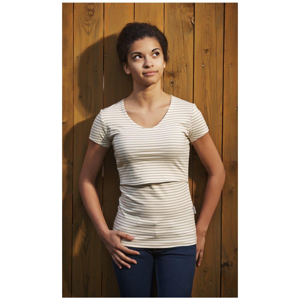 Tričko na dojčenie, smotanové s prúžkami - Biošatník