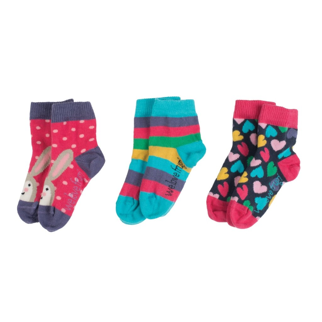 Ponožky dievčenské 3 páry srdiečka - Frugi
