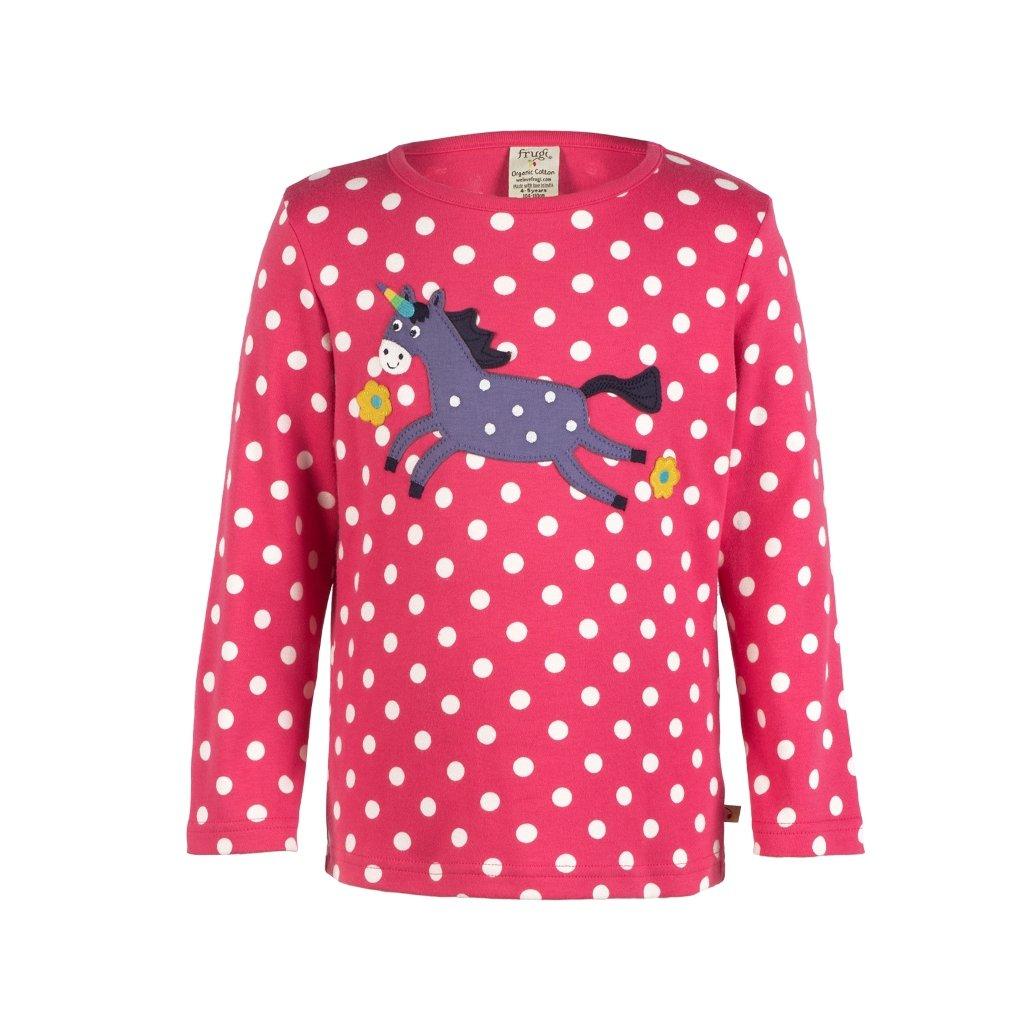 Ružové bodkované tričko s koníkom - Frugi