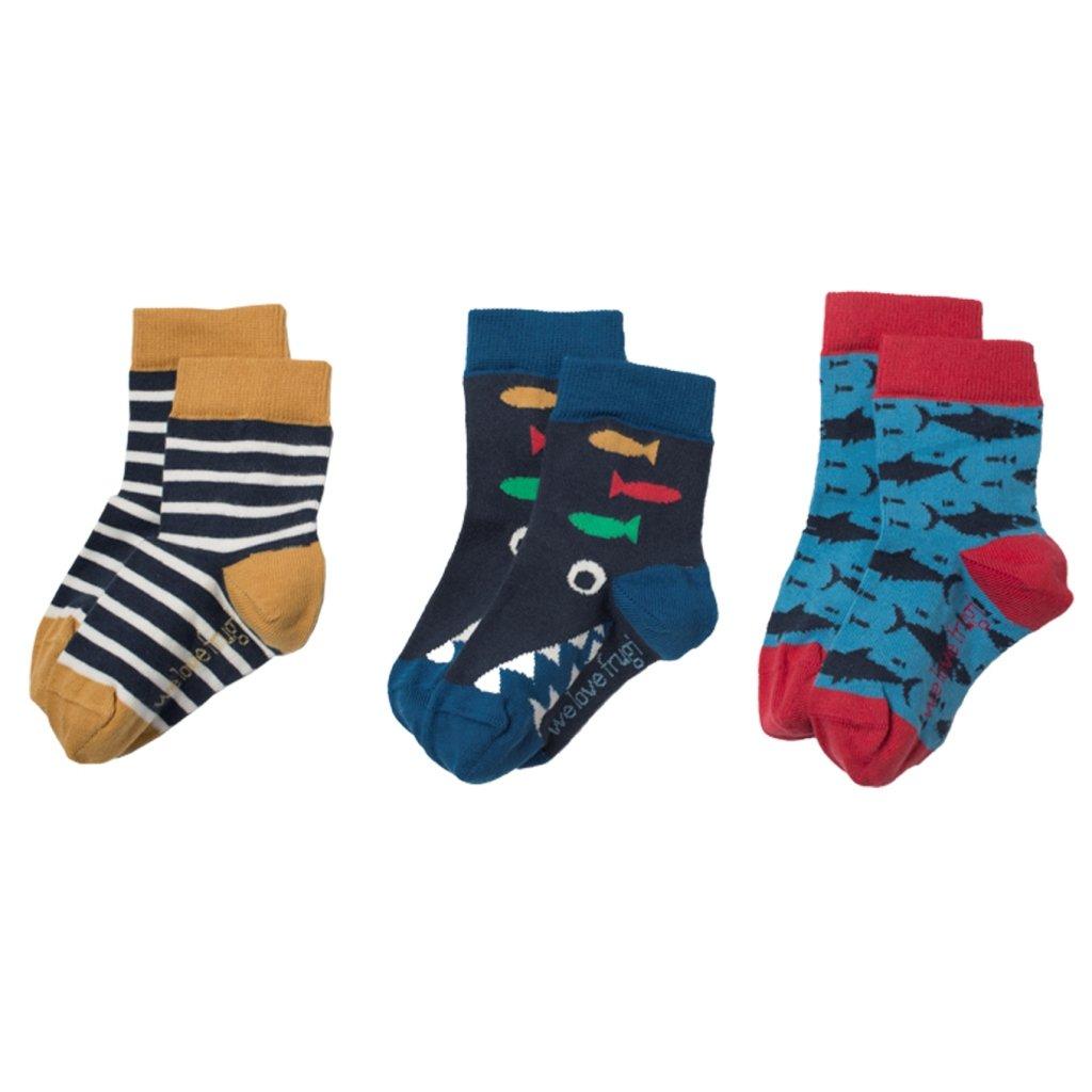 Ponožky chlapčenské 3 páry žraloky - Frugi