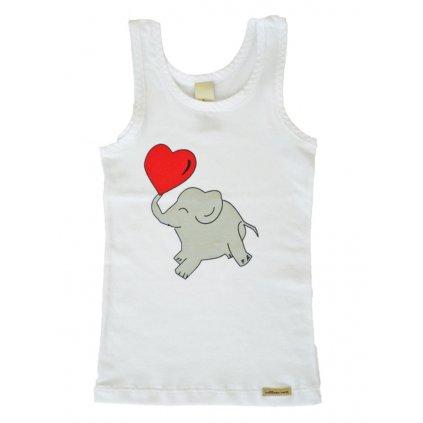 Dievčenské tielko biele so sloníkom - Comazo