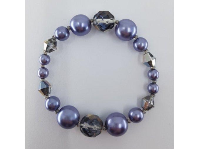 Glass naramek s brousenymi a voskovymi perlemi barva fialovo modra 125G12907 33