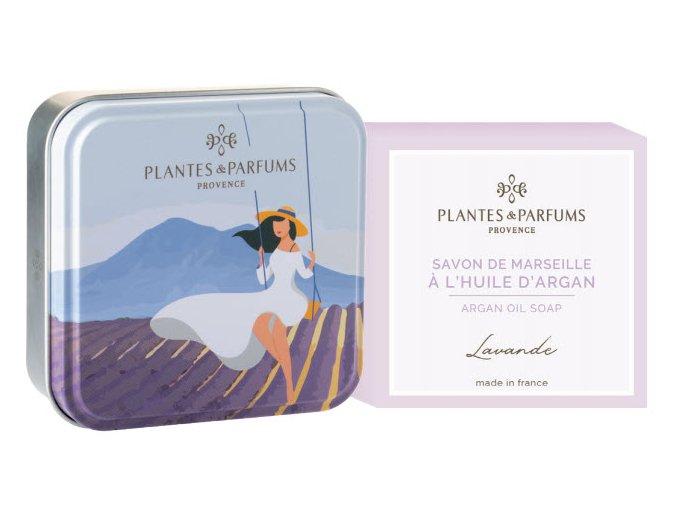 Plantes et Parfums tuhe mydlo Levandule argan 100g kovova krabicka SADA