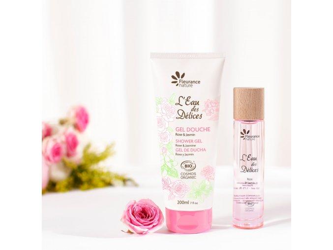 Fleurance Nature Eau des Delices Rose Jasmin EDP sprchovy gel