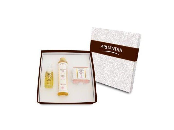 ARGANDIA Sada Růže 1x Suchý olej Růže + 1x Elixír 5 růží + 1x mýdlo Růže 100g