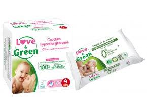 Love n Green Sada detske plenky vel.4 Vlhcene ubrousky mast na zadecek