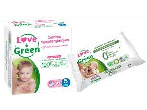 Love n Green Sada detske plenky vel.5 Vlhcene ubrousky mast na zadecek