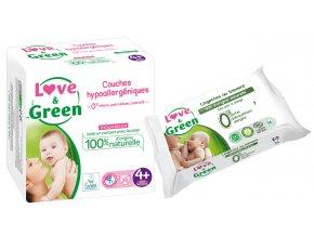 Love n Green Sada detske plenky vel.4+ Vlhcene ubrousky mast na zadecek