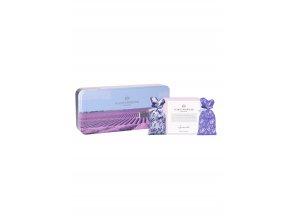 015305 Plantes et Parfums kovova krabicka tuhe mydlo levandule 2 sacky s levanduli