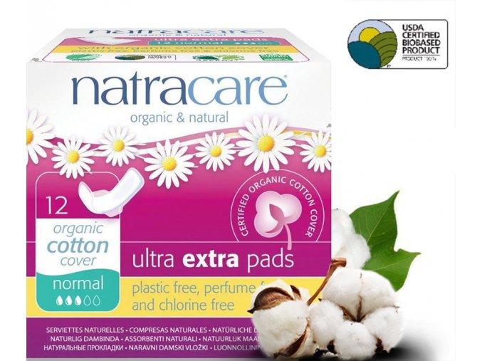 natracare menstruacni vlozky ultra extra normal s kridelky 12ks