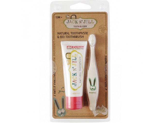 jack n jill akcni set prirodni zubni pasta jahoda bio detsky zubni kartacek zajicek