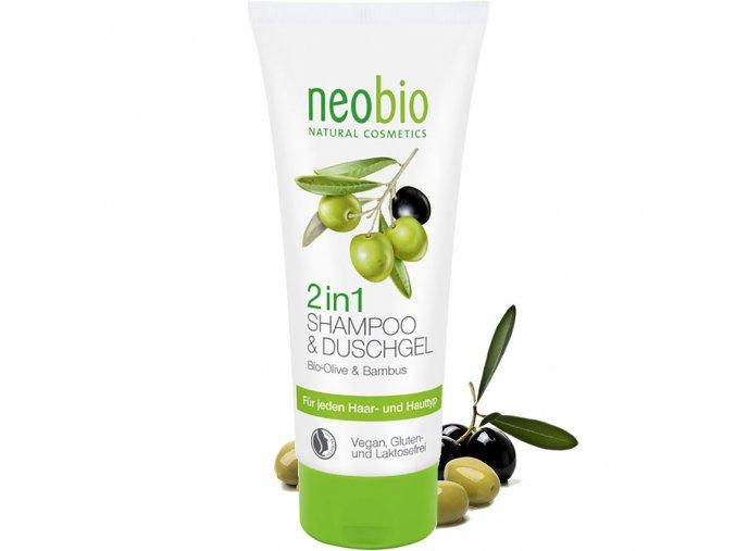 neobio 2 v 1 sampon a sprchovy gel bio oliva a bambus 200ml