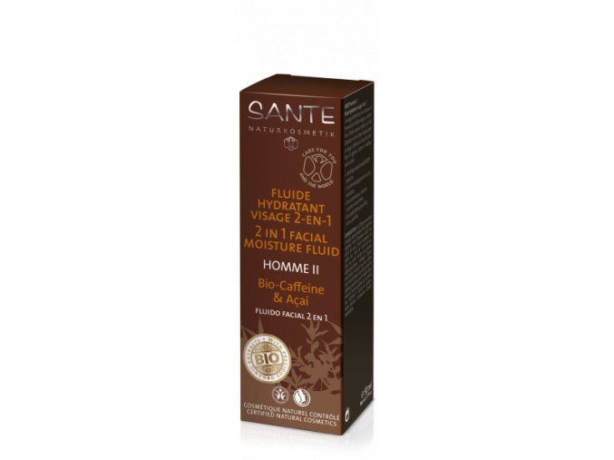 HOMME II pleťový hydratačný fluid 2v1 BIO kofeín a acai- Sante