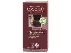 Prášková farba na vlasy - gaštanová LOGONA