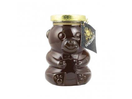 Med v sklenenom macíkovi tmavý2 Medáreň bioveci