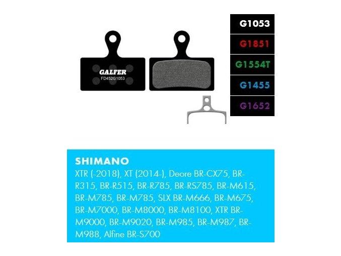 brzdové destičky galfer shimano fd452