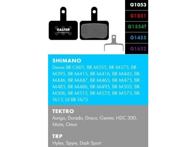 brzdové destičky galfer shimano tektro fd293