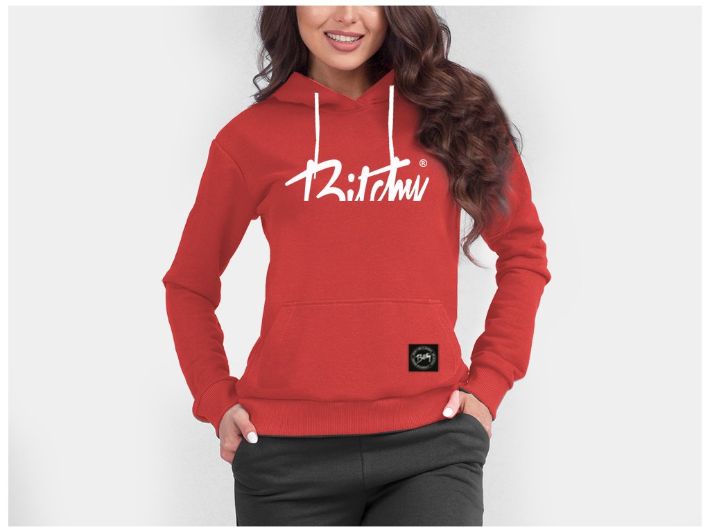 Bitchy Cut hoodie Red White 4women