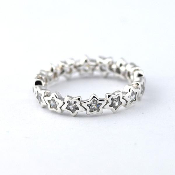 Strieborný 925 prsteň štýl Pandora - zirkónové hviezdy