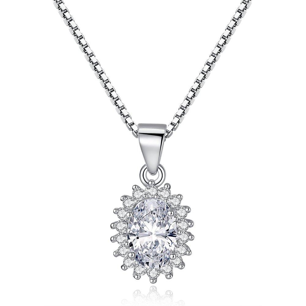 925 strieborný náhrdelník s príveskom v tvare oválu zdobený zirkónovým očkom