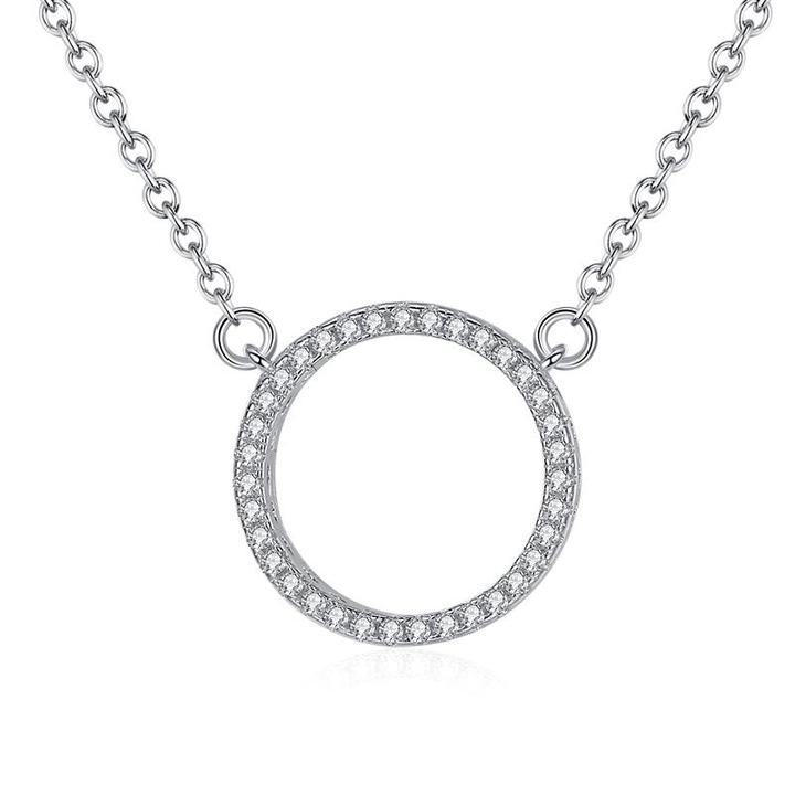 925 strieborný náhrdelník so zirkónovým krúžkom