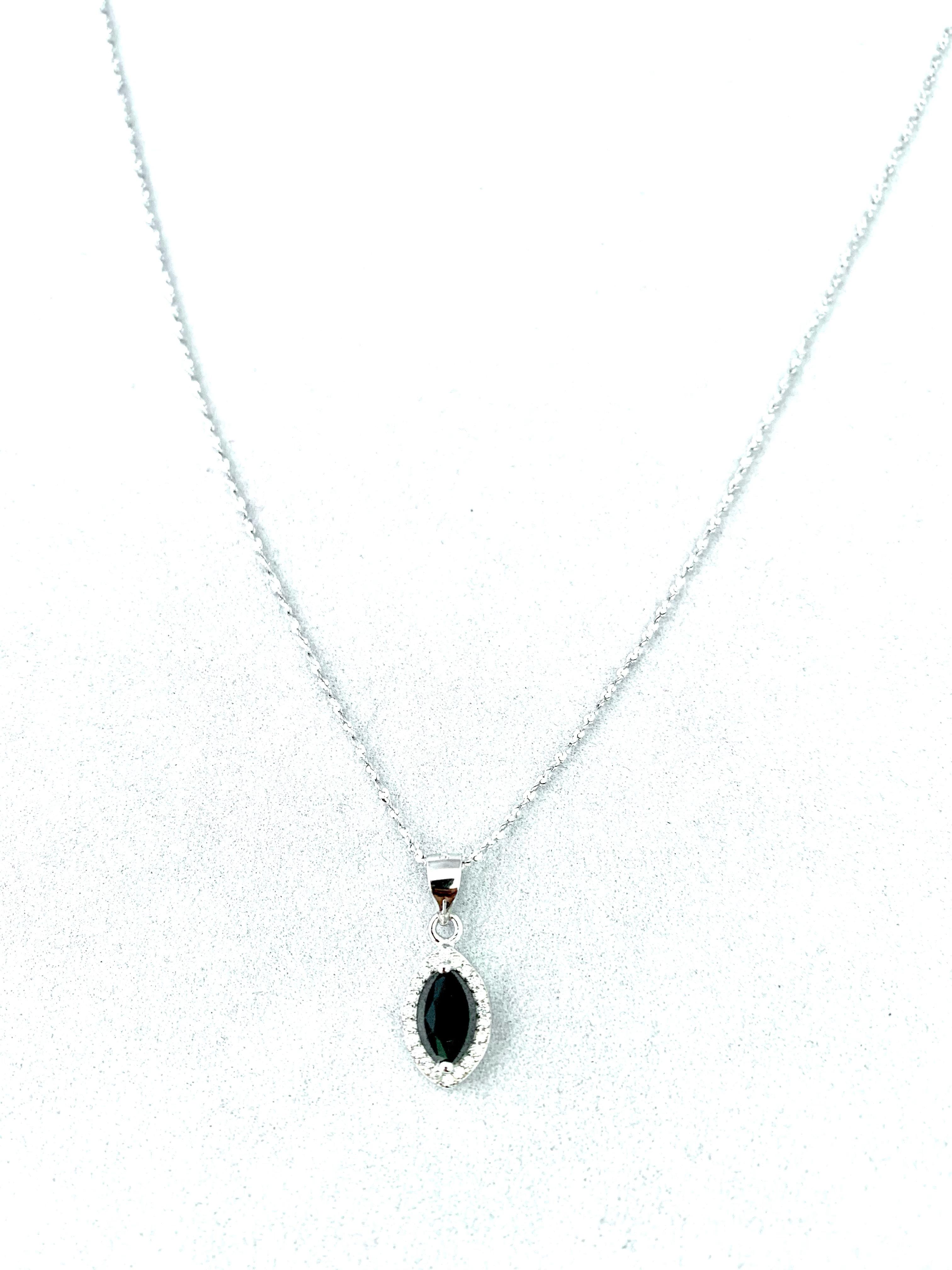 Strieborný 925 náhrdelník s čiernym kryštálovým príveskom v tvare oka