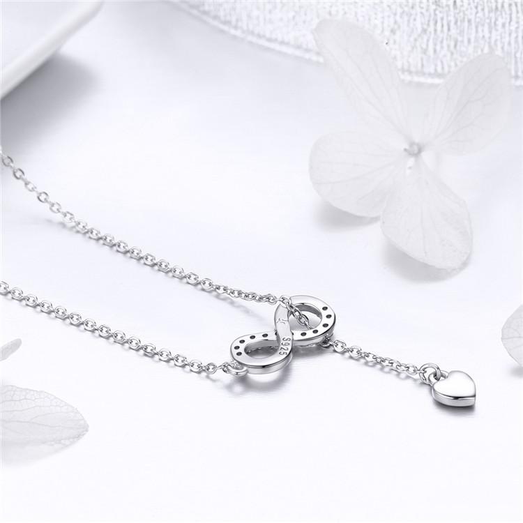Strieborný 925 náhrdelník - nekonečno so srdiečkom