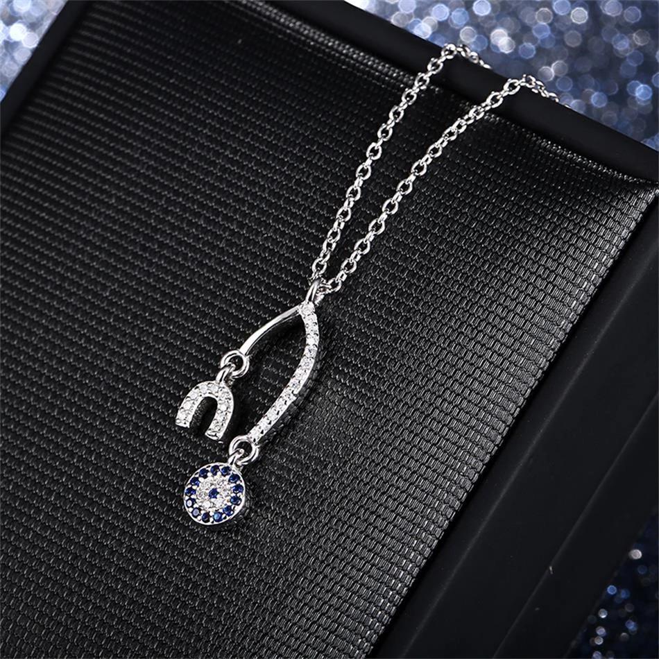 Strieborný 925 náhrdelník s podkovou a krúžkom