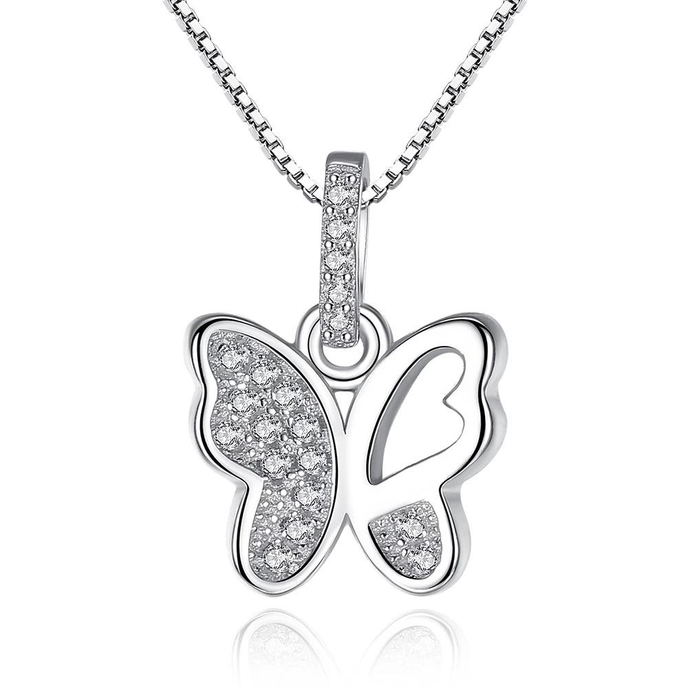 Strieborný 925 náhrdelník  s príveskom v tvare motýľa