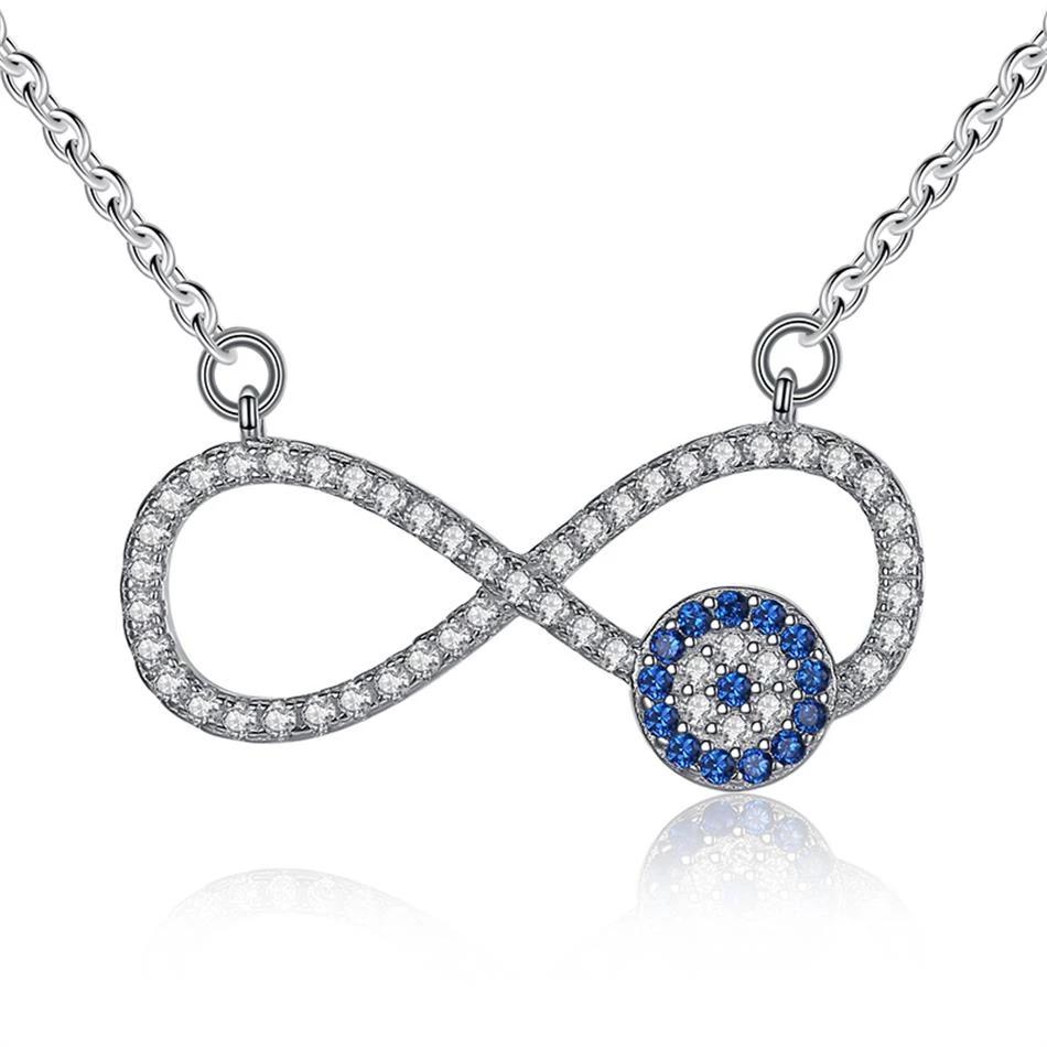 Strieborný 925 náhrdelník nekonečno s modrým krúžkom