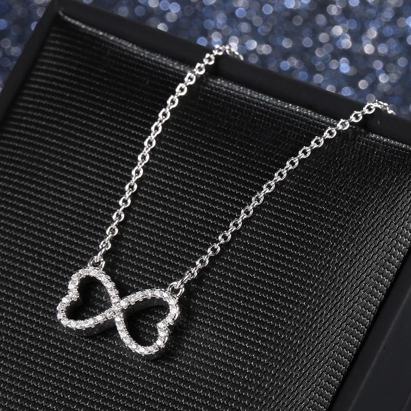 Strieborný 925 náhrdelník spojené srdcia