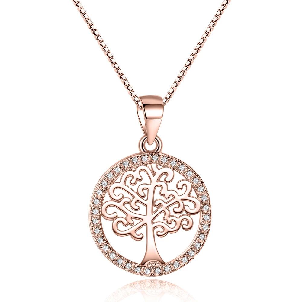 Strieborný 925 náhrdelník kruh so stromom života ružovo zlatý