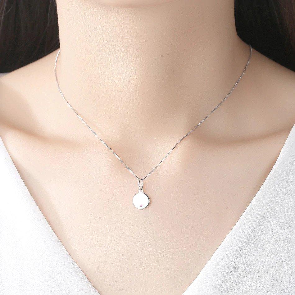 Strieborný 925 náhrdelník s okrúhlym príveskom