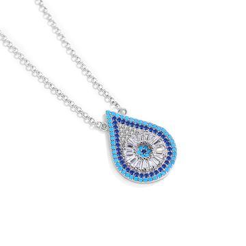 925 strieborný náhrdelník so strieborno modrou zirkónovou slzou