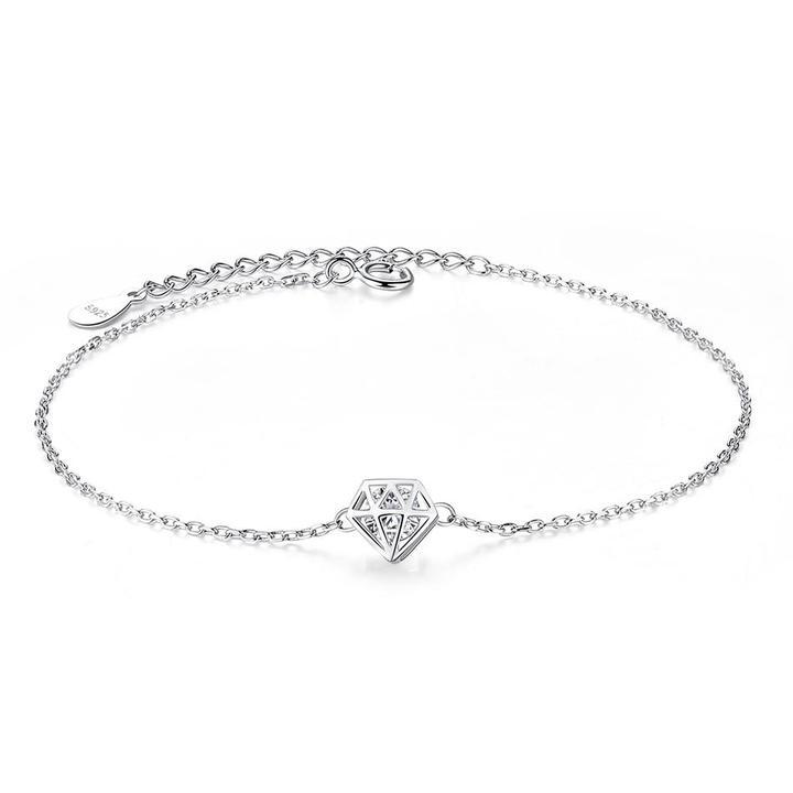 Strieborný 925 náramok s diamantom