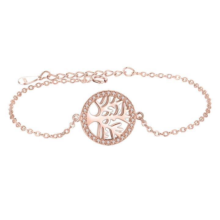 Strieborný 925 náramok ružové zlato so stromom života