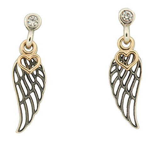 925 strieborné náušnice v tvare krídla s  malým zlatým srdiečkom