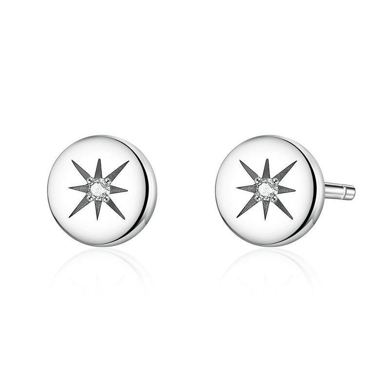 Strieborné náušnice krúžky s hviezdičkami