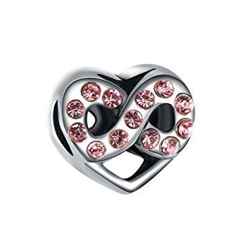 Korálka štýl Pandora srdiečko so symbolom nekonečnosti - ružový