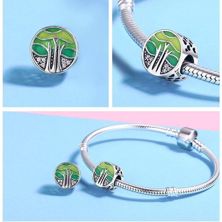 Farebná korálka štýl Pandora okrúhla s motívom mora zelená