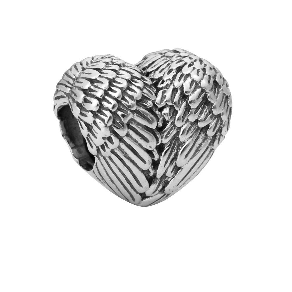 Korálka štýl Pandora anjelské krídla v tvare srdca