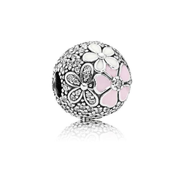 Korálka štýl Pandora strieborná s bielo- ružovými kvietkami