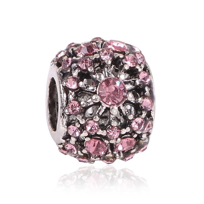 Korálka štýl Pandora s ružovými kamienkami