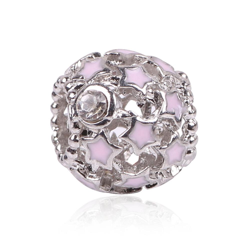 Korálka štýl Pandora s malými ružovým alebo bielymi hviezdičkami