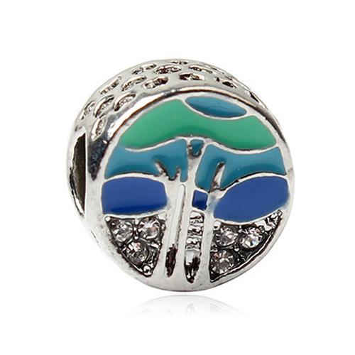 Farebná korálka štýl Pandora okrúhla s motívom mora