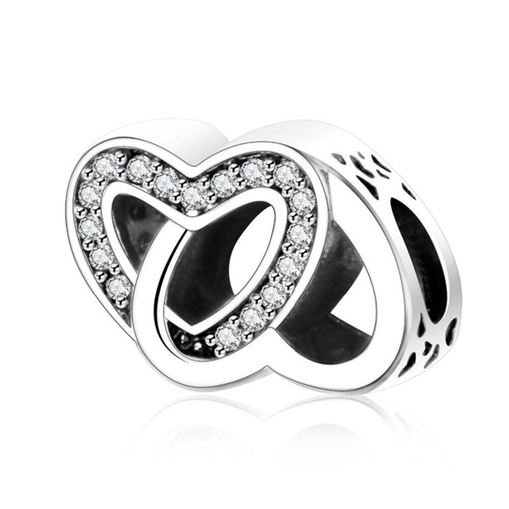 Strieborná 925 korálka štýl Pandora spojené srdcia