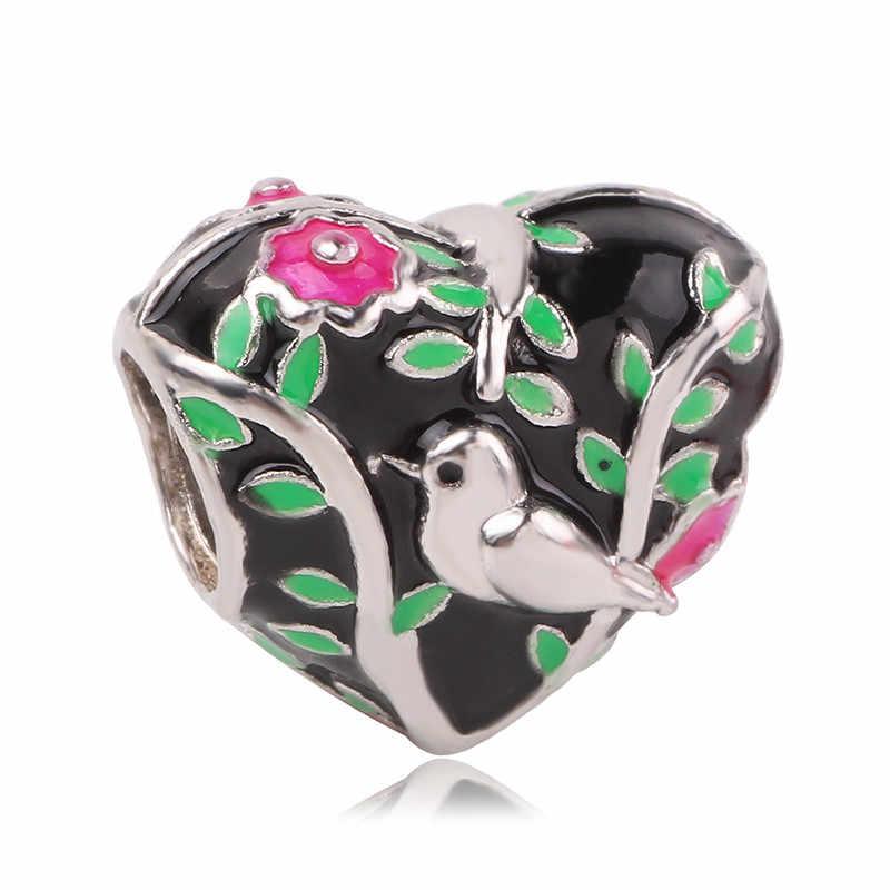 Strieborná 925 korálka štýl Pandora v tvare srdca s vtáčikom