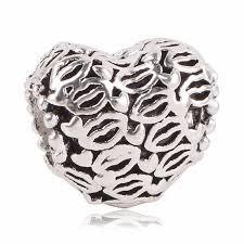 Korálka štýl Pandora v tvare srdca s ústami