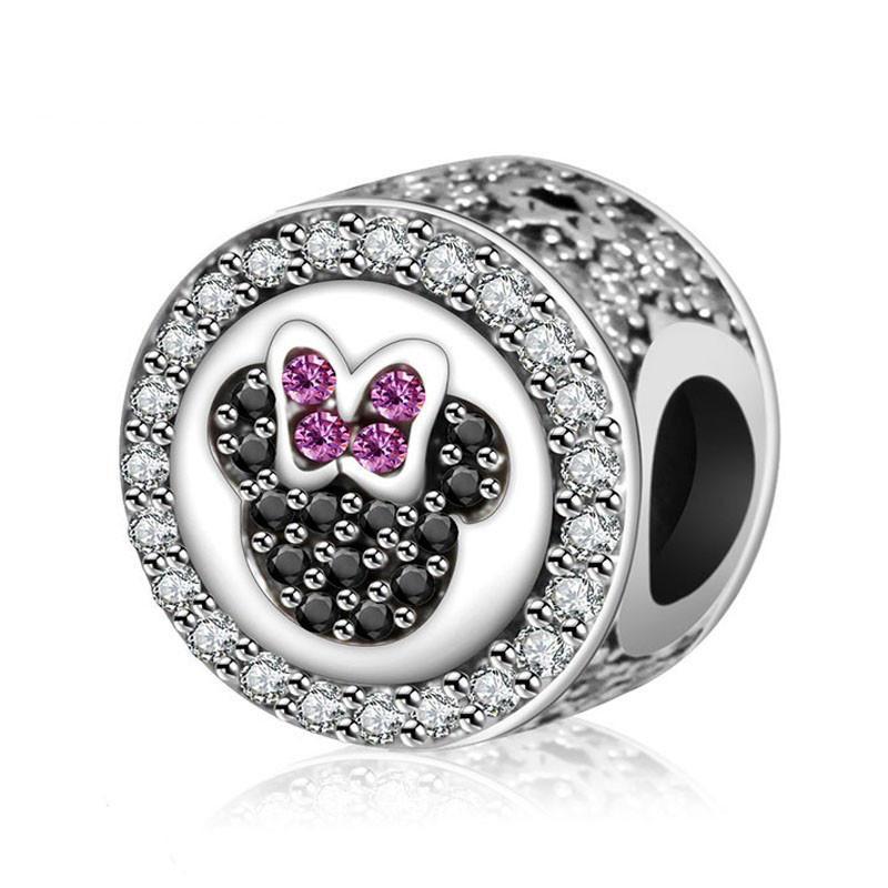 Okrúhla korálka štýl Pandora disney Mickey Mouse čierno - ružová